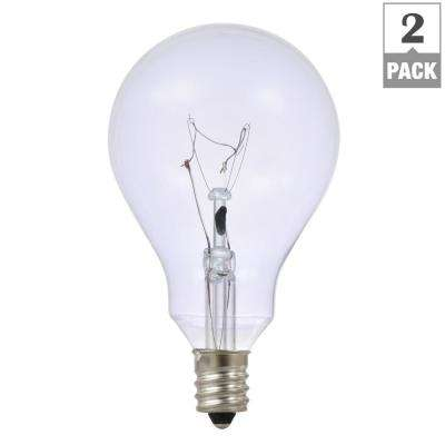 60-Watt A15 Fan Clarity Clear Candelabra Incandescent Light Bulb (2-Pack)