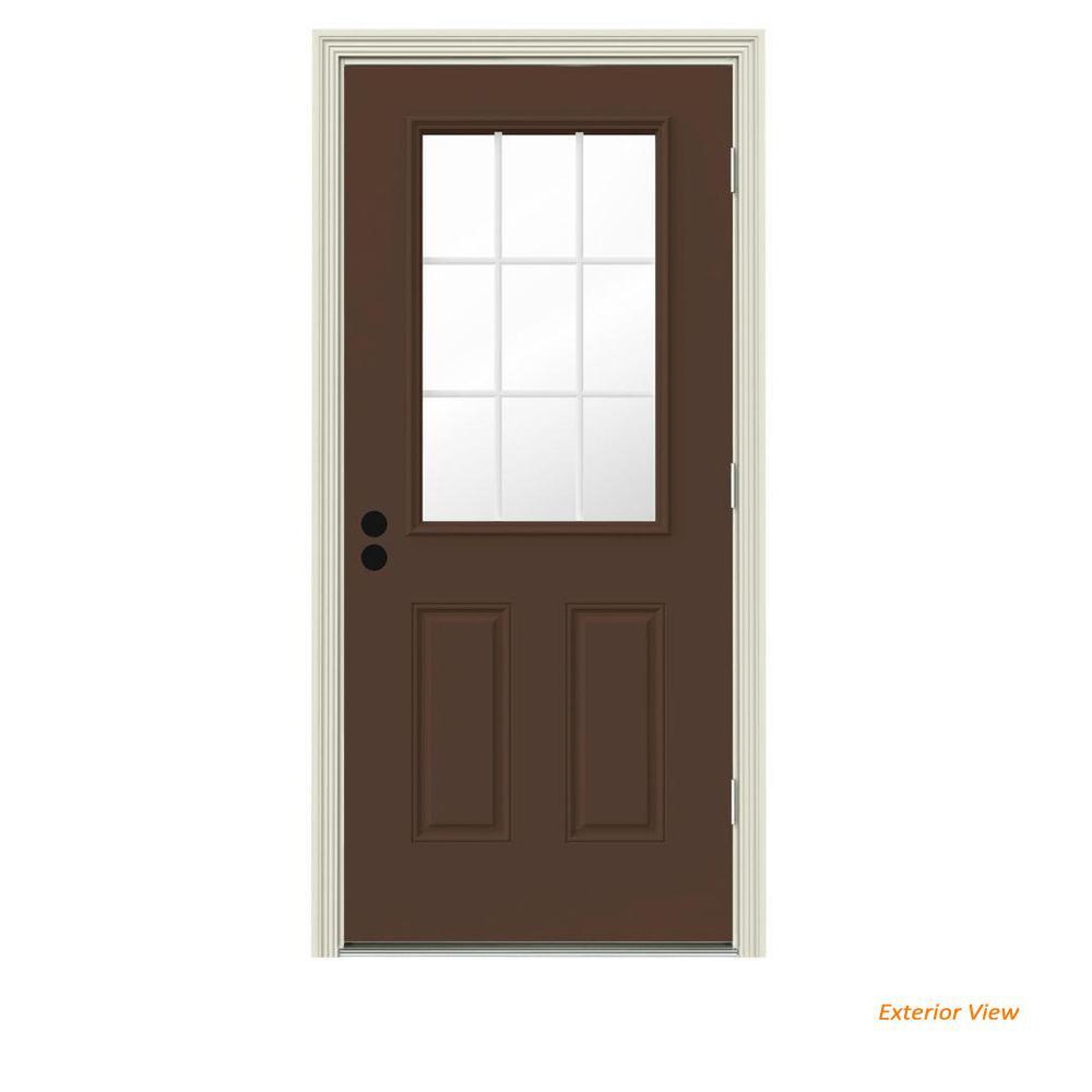 30 in. x 80 in. 9 Lite Dark Chocolate Painted Steel Prehung Left-Hand Outswing Front Door w/Brickmould