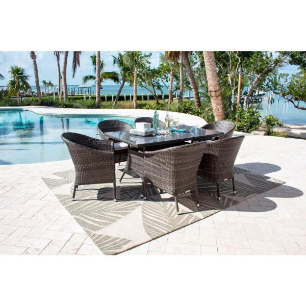 Ultra Gray 7-Piece Wicker Outdoor Dining Set with Off-White Cushions