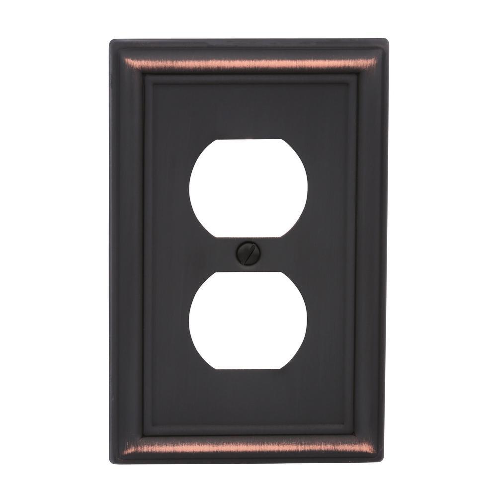 Ascher 1-Gang Duplex Steel Wall Plate - Aged Bronze (4-Pack)