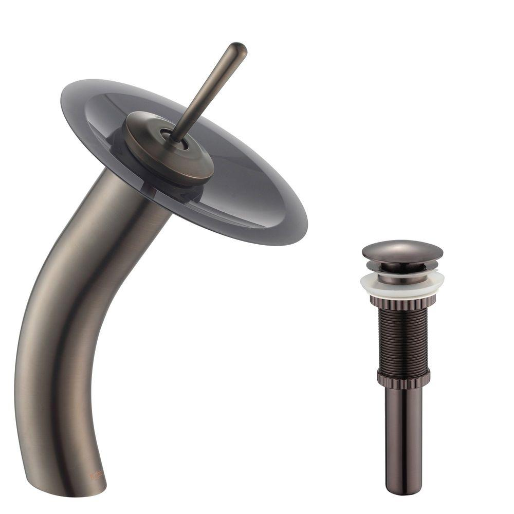 Kraus Single Hole Handle Low Arc Vessel Gl Waterfall Bathroom Faucet In Oil Rubbed Bronze With Disk Gray