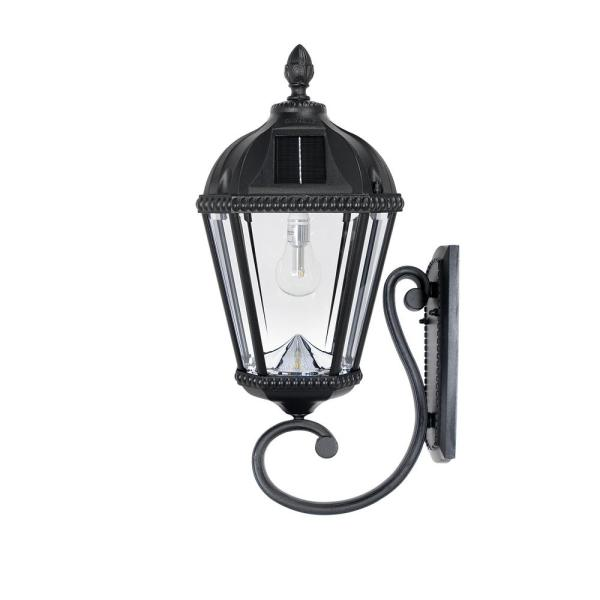 Royal Bulb Solar Lamp Series 1-Light Black Cast Aluminum Solar LED Outdoor Wall Lantern Sconce With Warm White Bulb