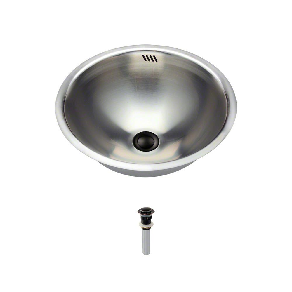 Tri-Mount Bathroom Sink in Stainless Steel with Pop-Up Drain in Antique