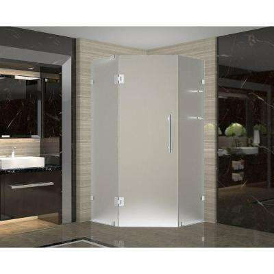 Neoscape GS 36 in. x 36 in. x 72 in. Frameless Neo-Angle Shower Enclosure with Frosted Glass and Shelves in Chrome