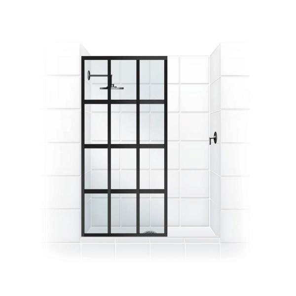Gridscape Series V1 36 in. x 72 in. Divided Light Shower Screen in Matte Black and Clear Glass
