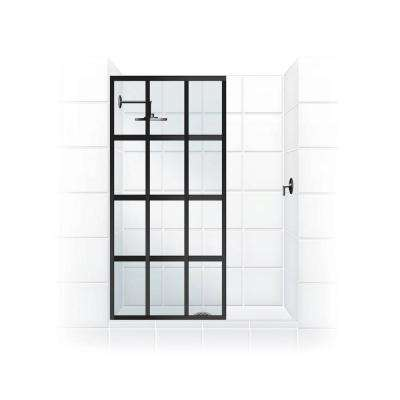 Gridscape Series V1 36 in. x 72 in. Divided Light Shower Screen in Black Bronze and Clear Glass