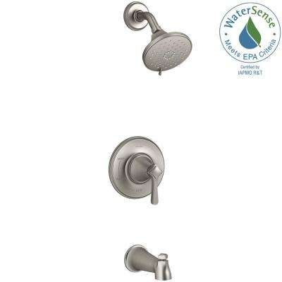 Georgeson Single Handle 3 Spray Tub And Shower Faucet In Vibrant Brushed  Nickel (