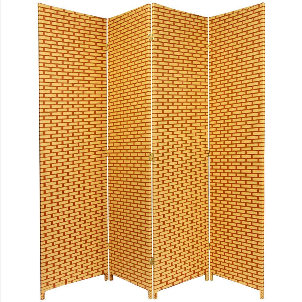 Oriental Furniture 6 ft. Rust Woven Fiber 4-Panel Room Divider