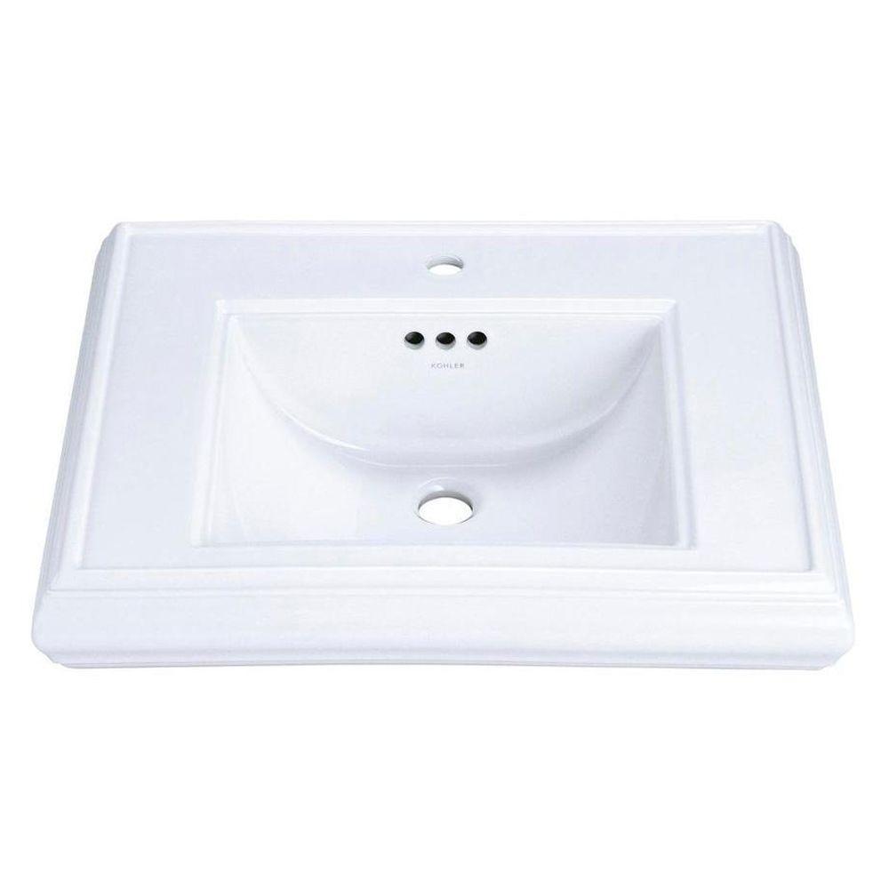Memoirs 5-1/4 in. Ceramic Pedestal Sink Basin in White with Overflow Drain
