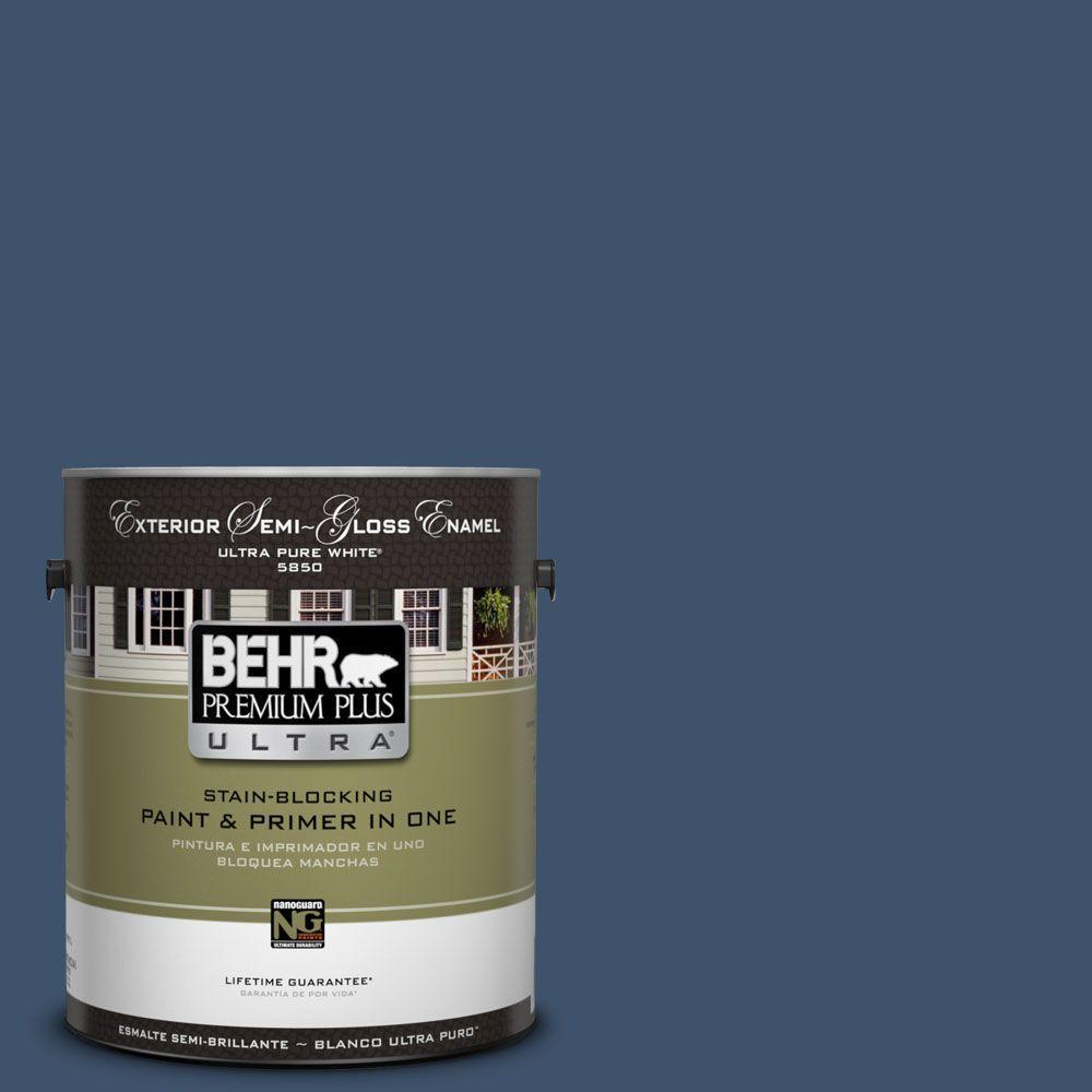 Behr Premium Plus Ultra 1 Gal Hdc Sm14 7 Midnight Mosaic Semi Gloss Enamel Exterior Paint