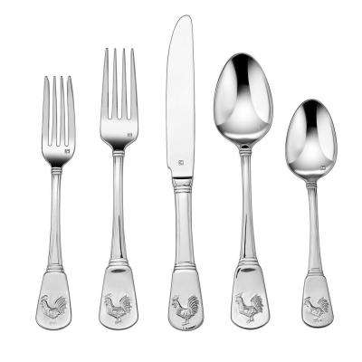 French Rooster Collection 20-Piece Flatware Set in Silver