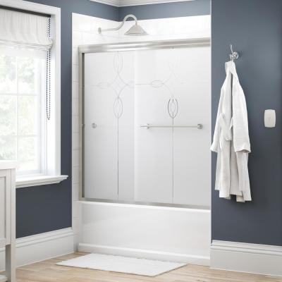 Crestfield 60 in. x 58-1/8 in. Semi-Frameless Traditional Sliding Bathtub Door in Nickel with Tranquility Glass