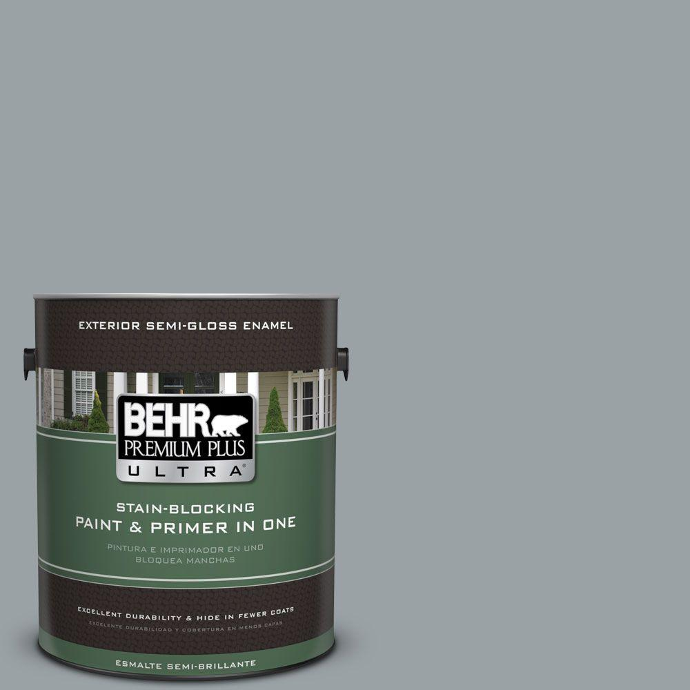 1 gal. #HDC-SM16-02 River Rock Grey Semi-Gloss Enamel Exterior Paint