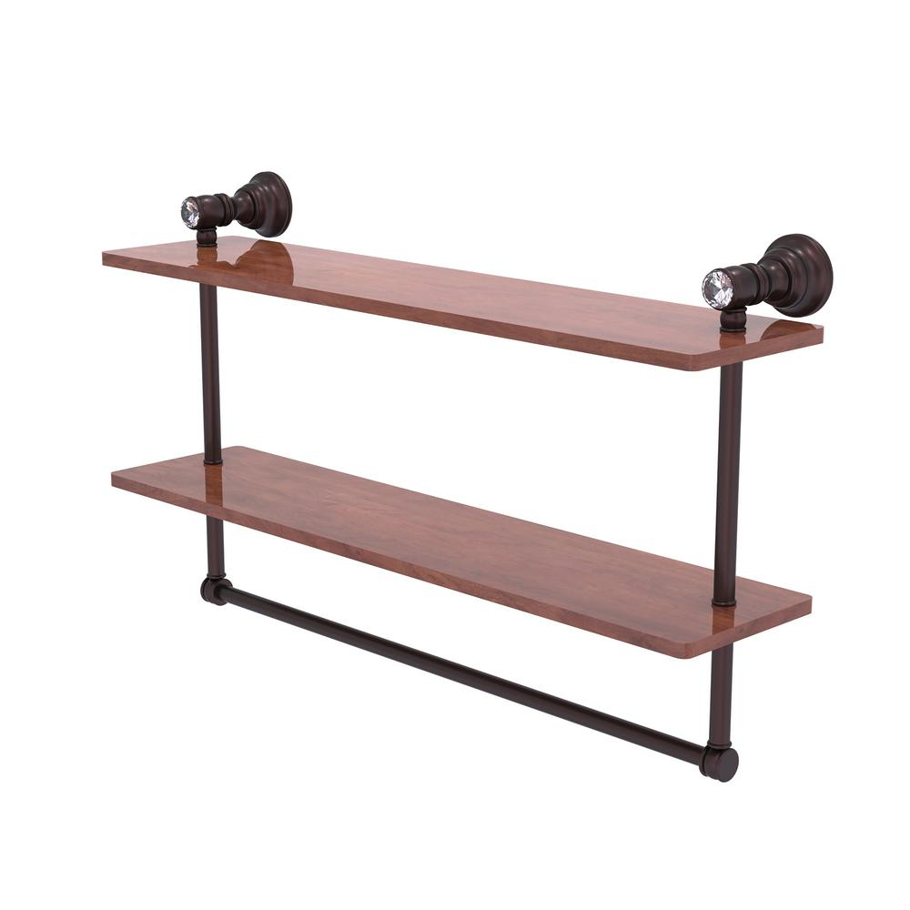 Allied Brass Carolina Crystal Collection 22 In Double Wood Vanity Shelf With Integrated Towel Bar In Antique Bronze Cc 2 22 Tb Irw Abz The Home Depot