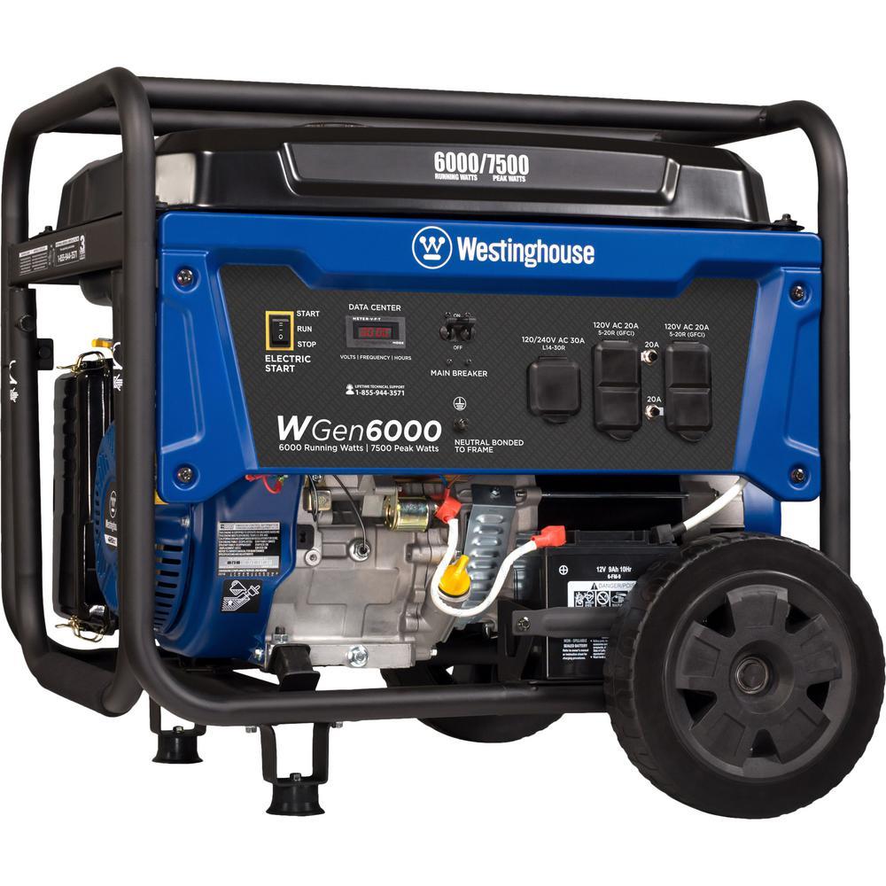 Westinghouse 7,500/6,000-Watt Gasoline Powered Electric Start Portable Generator with VFT Data Center