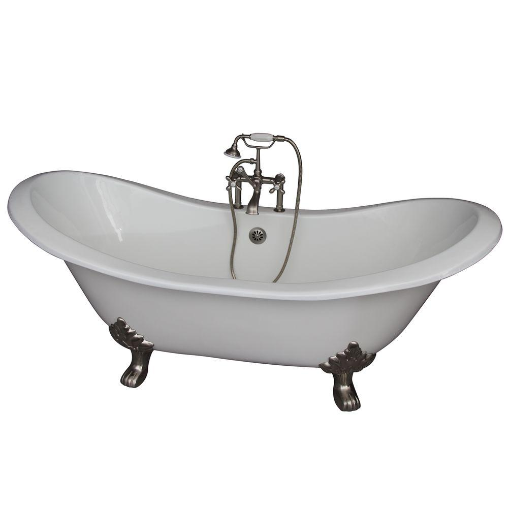 Barclay Products 5.9 ft. Cast Iron Lion Paw Feet Double Slipper Tub in White with Brushed Nickel Accessories