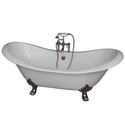 Barclay Products 5 9 Ft Cast Iron Lion Paw Feet Double Slipper Tub In White With Brushed Nickel Accessories Tkctdsh Sn2 The Home Depot