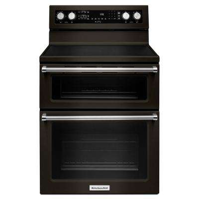 6.7 cu. ft. Double Oven Electric Range with Self-Cleaning Convection Oven in Black Stainless