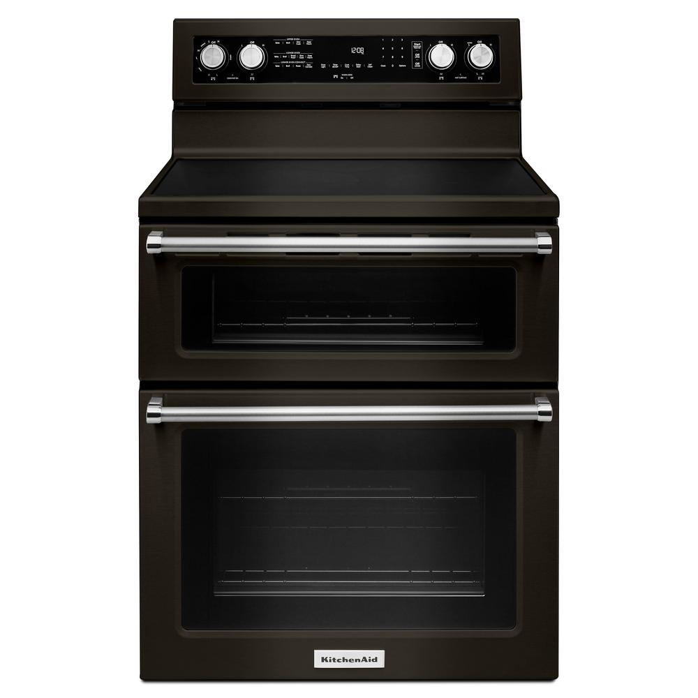 KitchenAid 6.7 cu. ft. Double Oven Electric Range with Self-Cleaning Convection Oven in PrintShield Black Stainless