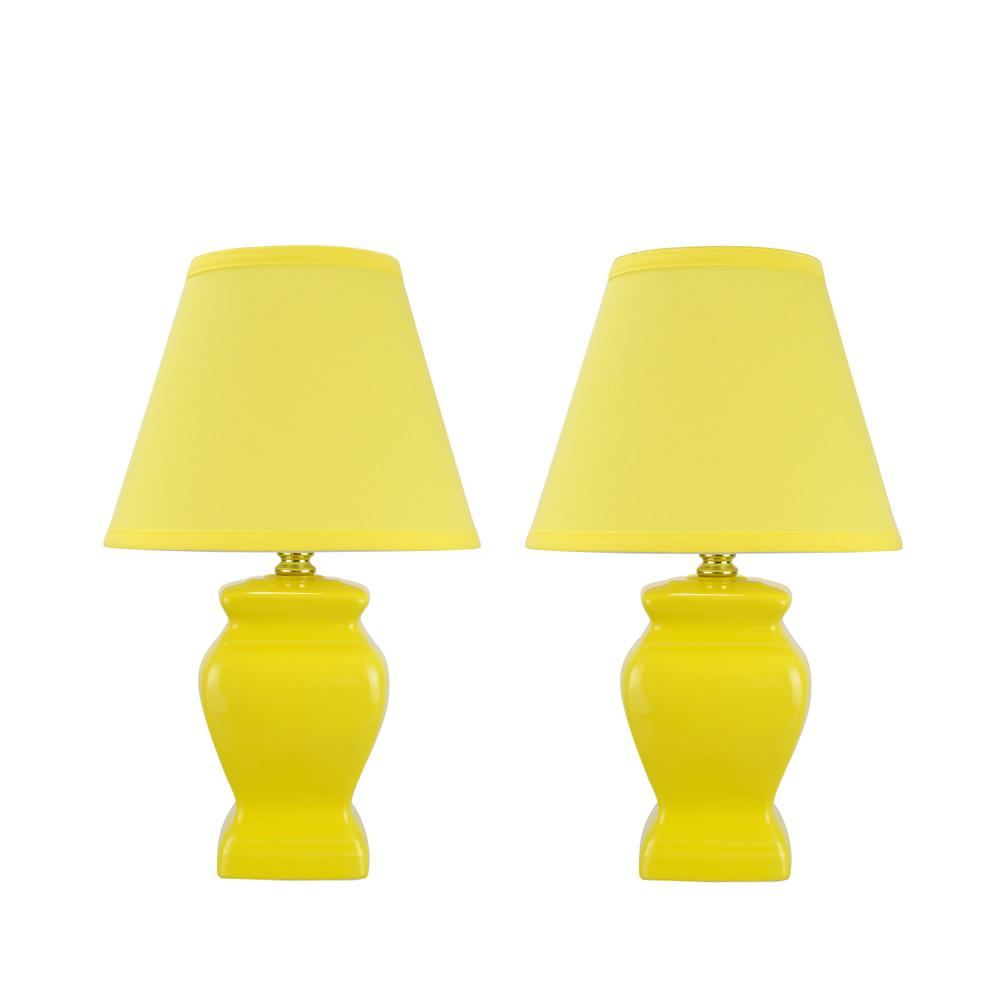 Aspen Creative Corporation 14 1 2 In Yellow Ceramic Table Lamp With Hardback Empire Shaped Shade Pack