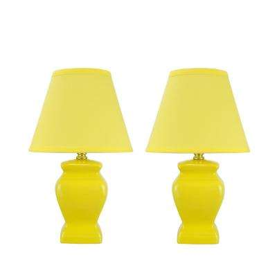 14-1/2 in. Yellow Ceramic Table Lamp with Hardback Empire Shaped Lamp Shade in Yellow (2-Pack)