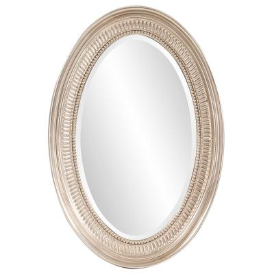 31 in. x 21 in. Brushed Nickel Notched Oval Framed Mirror