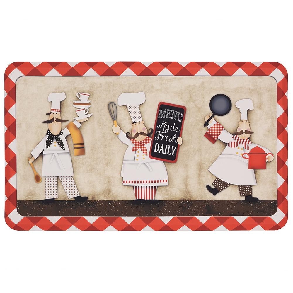18 X 30 In. Kitchen Mat 3 Panel Chefs Multi Polyester