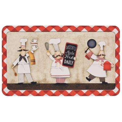 Three Panel Chefs 18 in. x 30 in. Kitchen Mat