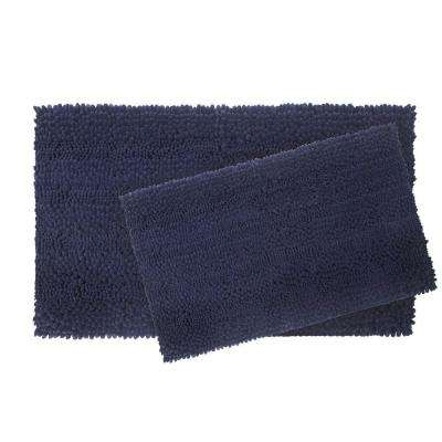 Astor Striped Chenille 17 in. x 24 in./ 20 in. x 34 in. 2-Piece Plush Bath Mat Set in Indigo