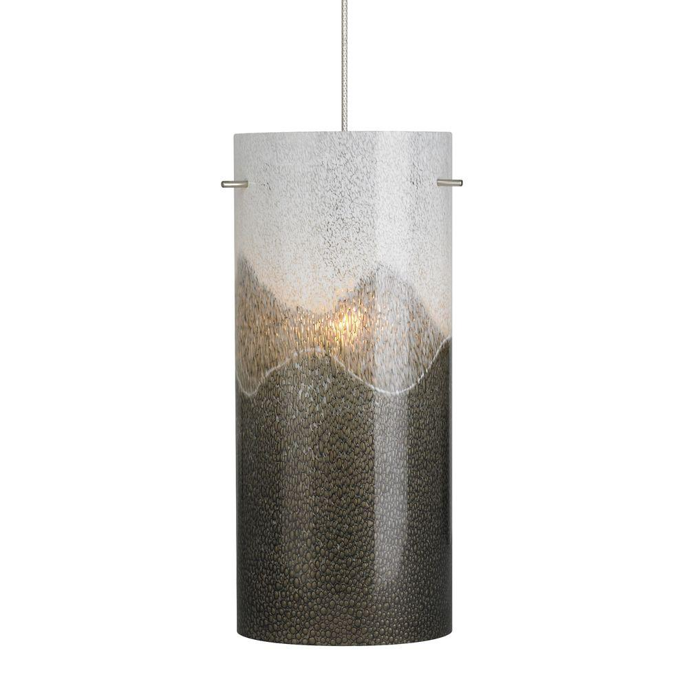 Dahling 1-Light Satin Nickel LED Mini Pendant with Gray-Opal Shade