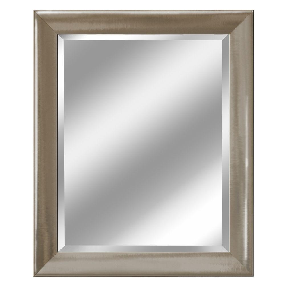 Deco mirror 28 in x 34 in transitional mirror in brush nickel