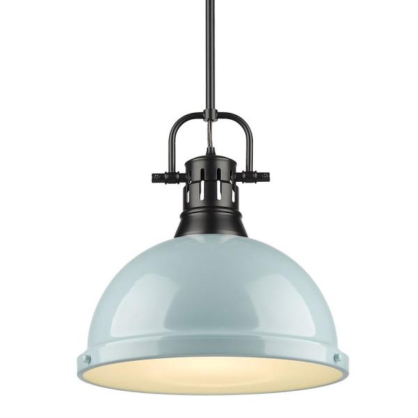 Duncan 1-Light Black Pendant and Rod with Seafoam Shade