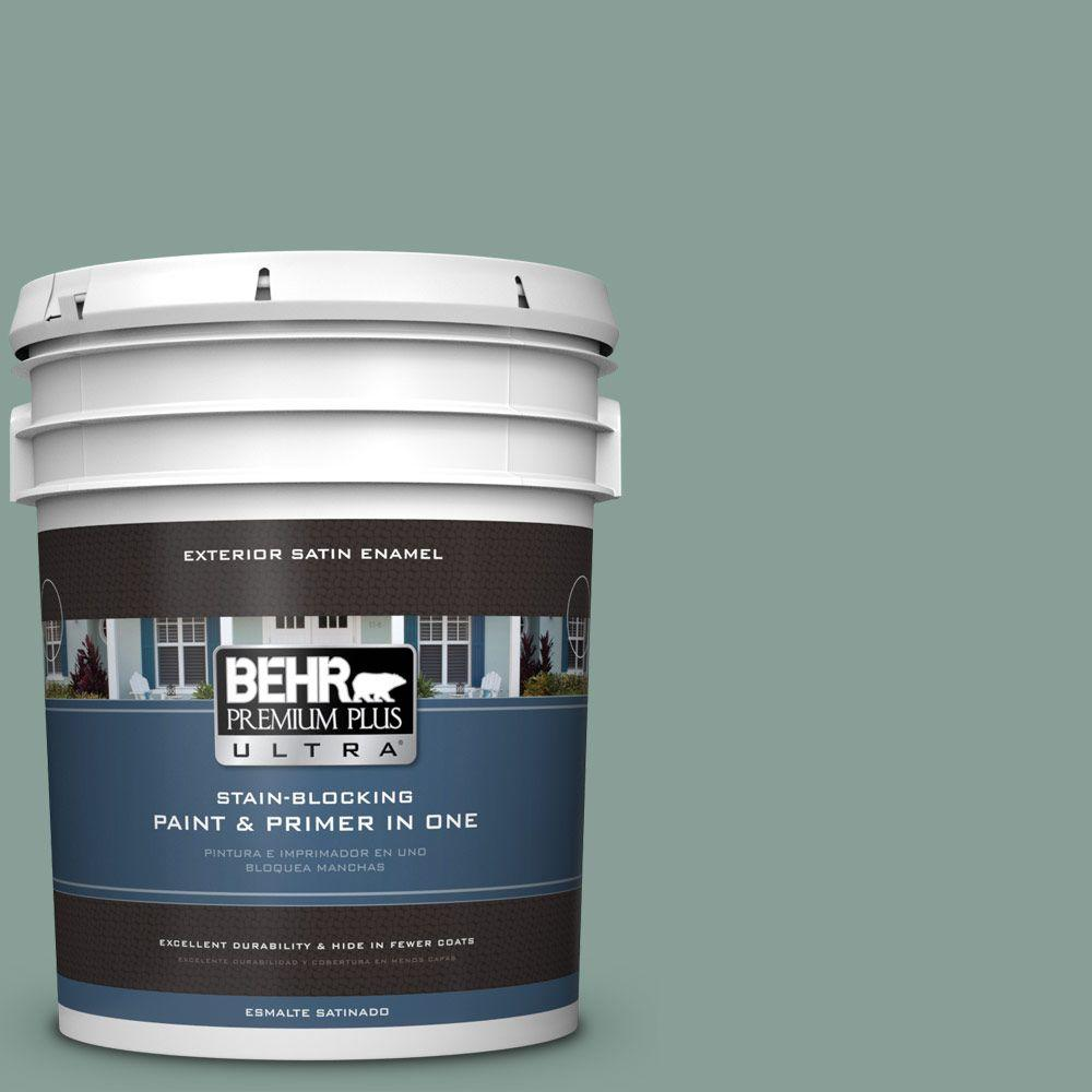 BEHR Premium Plus Ultra 5-gal. #480F-4 Mermaid Net Satin Enamel Exterior Paint