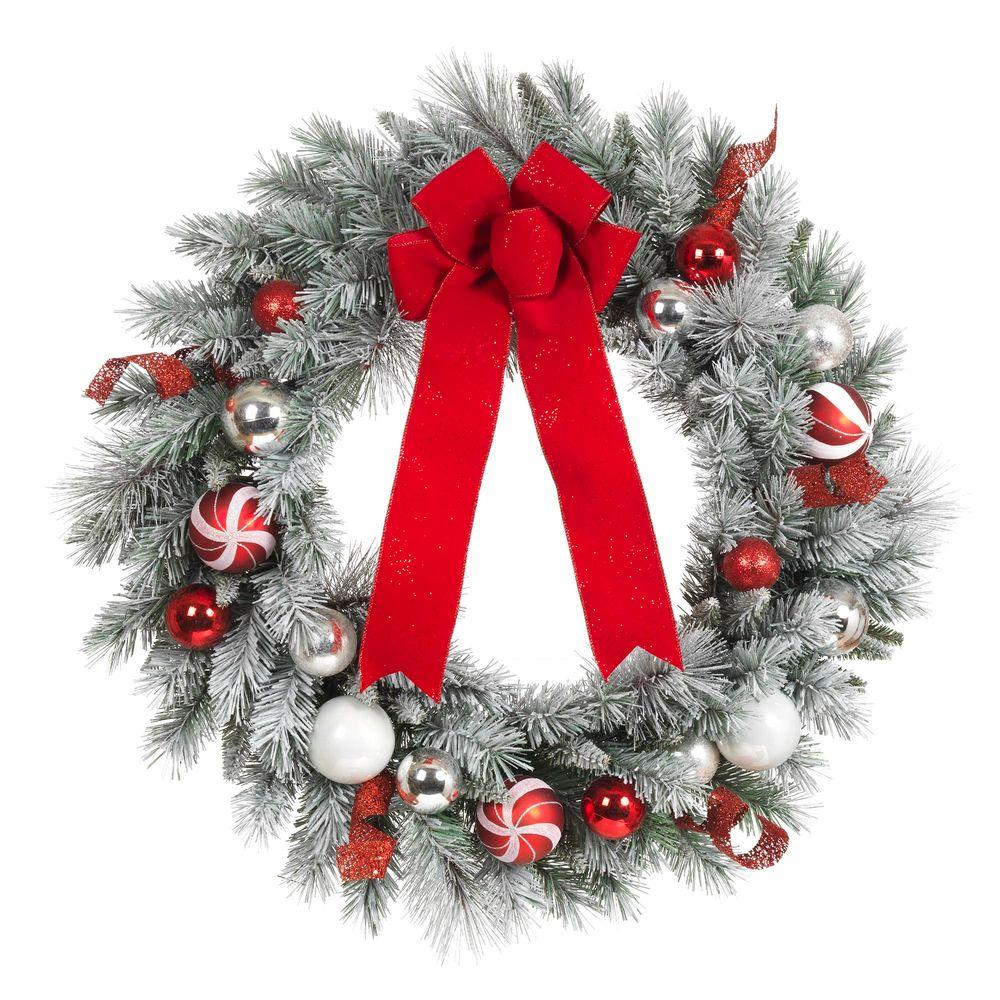 home accents holiday 30 in flocked pine artificial wreath with red and white balls