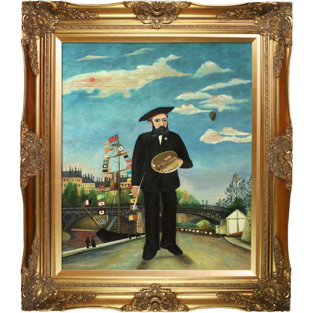 LA PASTICHE Myself: Portrait - Landscape with Victorian Gold Frameby Henri Rousseau Oil Painting, Multi-Colored was $1146.0 now $437.4 (62.0% off)