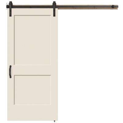 36 in. x 84 in. Monroe Primed Smooth Molded Composite MDF Barn Door with Rustic Hardware Kit