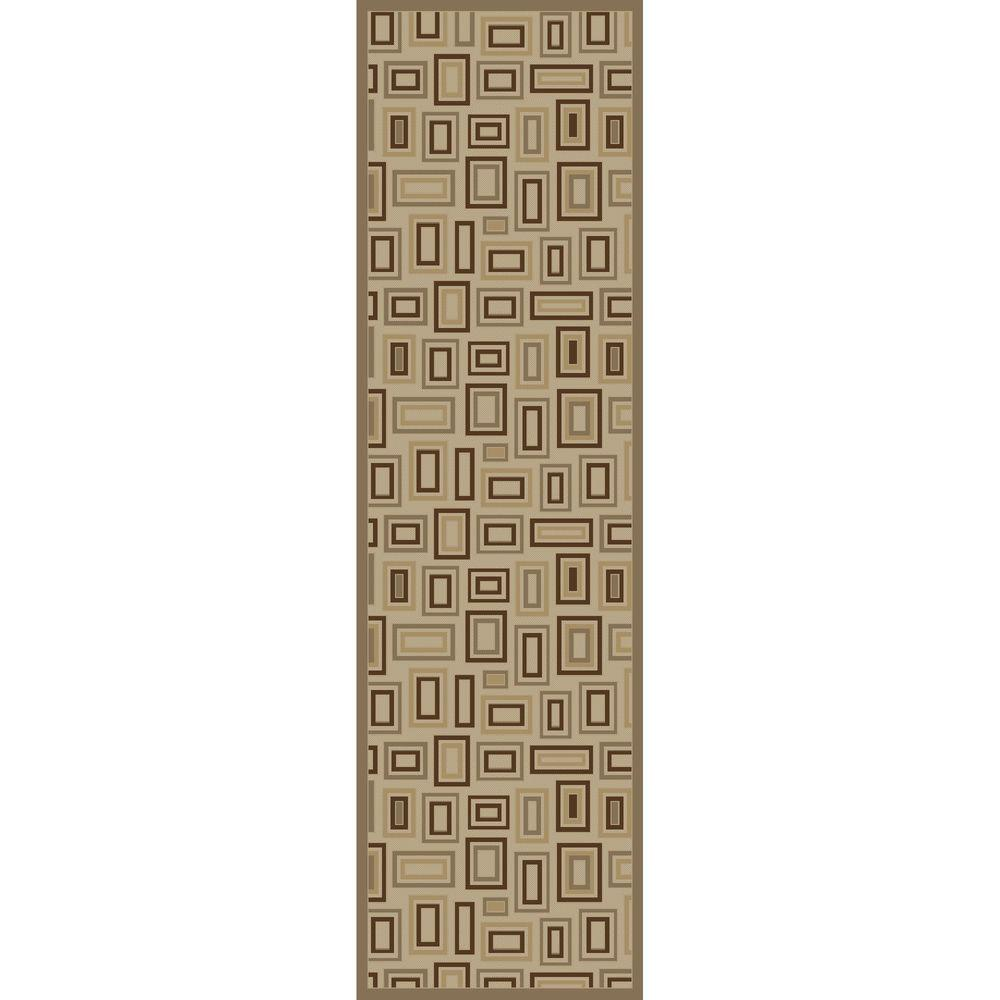 Concord Global Trading Mooresville Rectangles Ivory 2 ft. 3 in. x 7 ft. 3 in. Runner