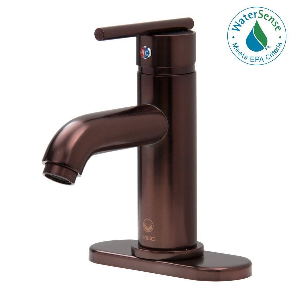 VIGO Triana Single Hole Single-Handle Bathroom Faucet in Oil ...