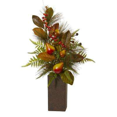 26 in. Pears Magnolia Leaf and Fern Artificial Arrangement in Weathered Brown Planter