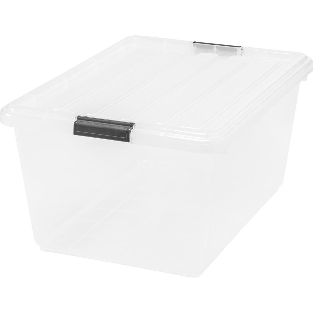 IRIS 44 Qt. Buckle Down Storage Box In Clear