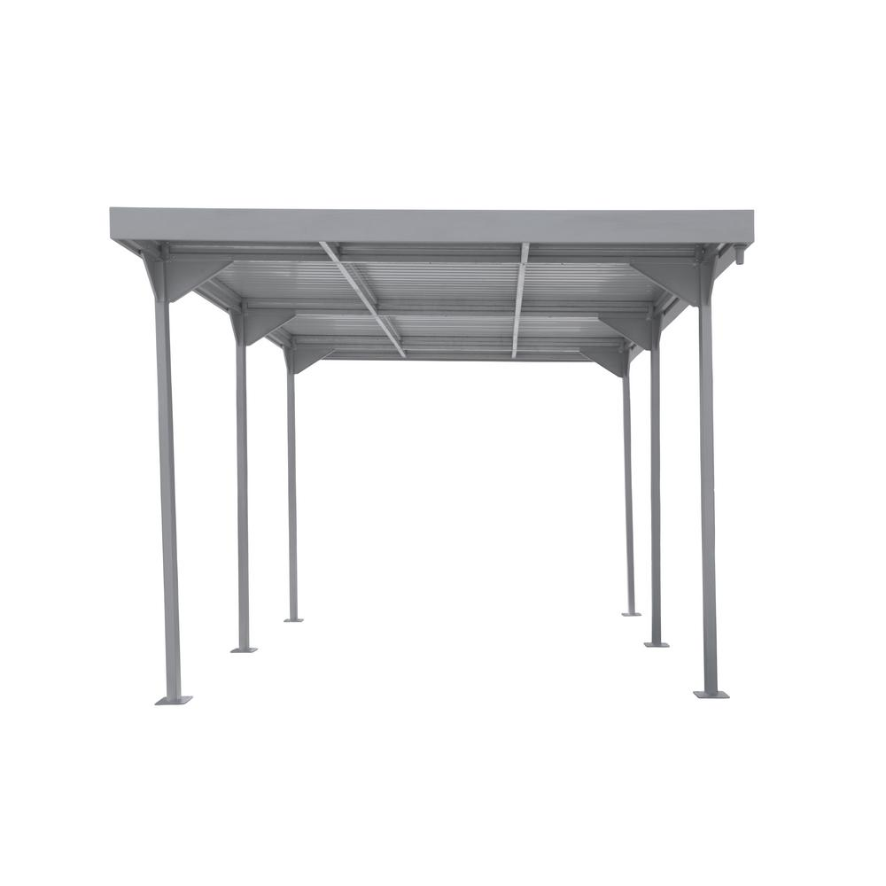 Duramax Building Products Palladium 9 5 ft  W x 17 ft  D Silver Steel Car  Shelter