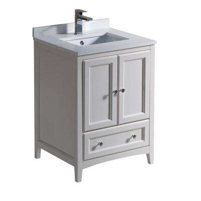 Oxford 24 in. Bath Vanity in Antique White with Quartz Stone Vanity Top in White with White Basin