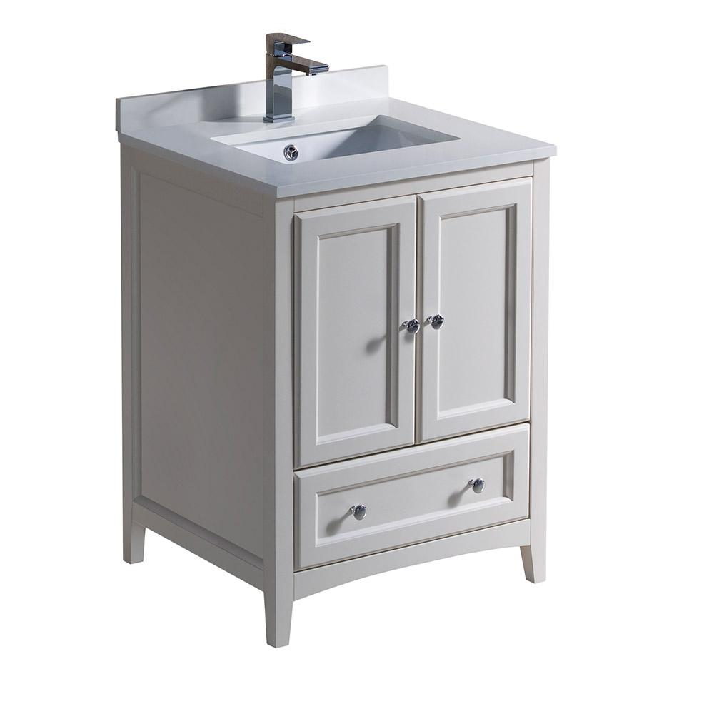 Fresca oxford 24 in bath vanity in antique white with for Local bathroom vanities