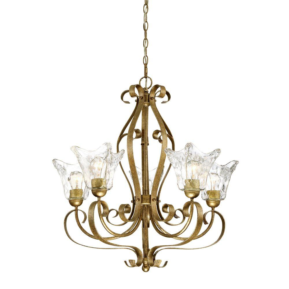 Chatsworth Collection 5-Light Vintage Gold Chandelier with Clear Glass