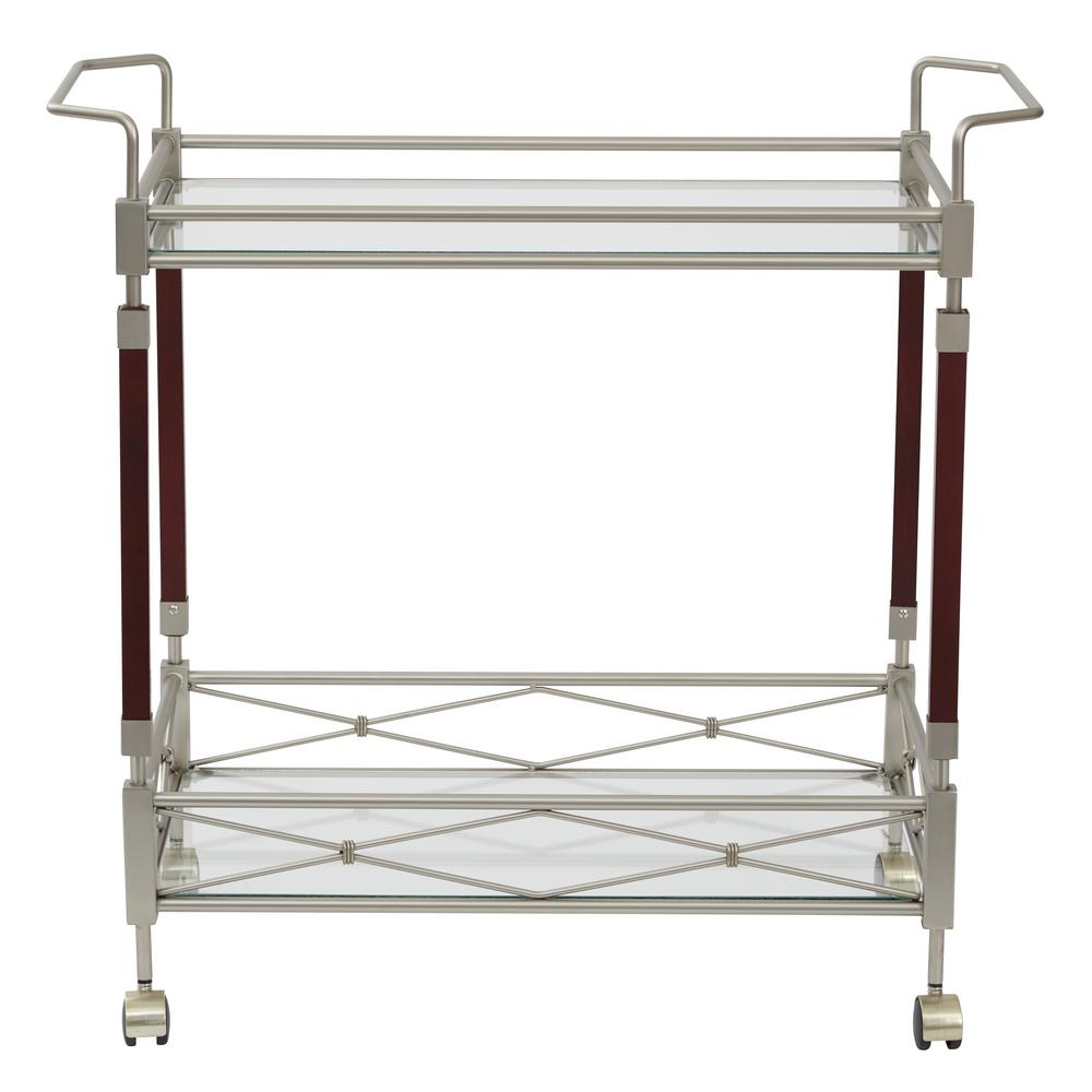 Melrose Serving Cart with Clear Tempered Glass and Nickel Brush Metal