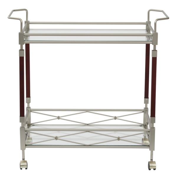 OSP Home Furnishings Melrose Serving Cart with Clear Tempered Glass and