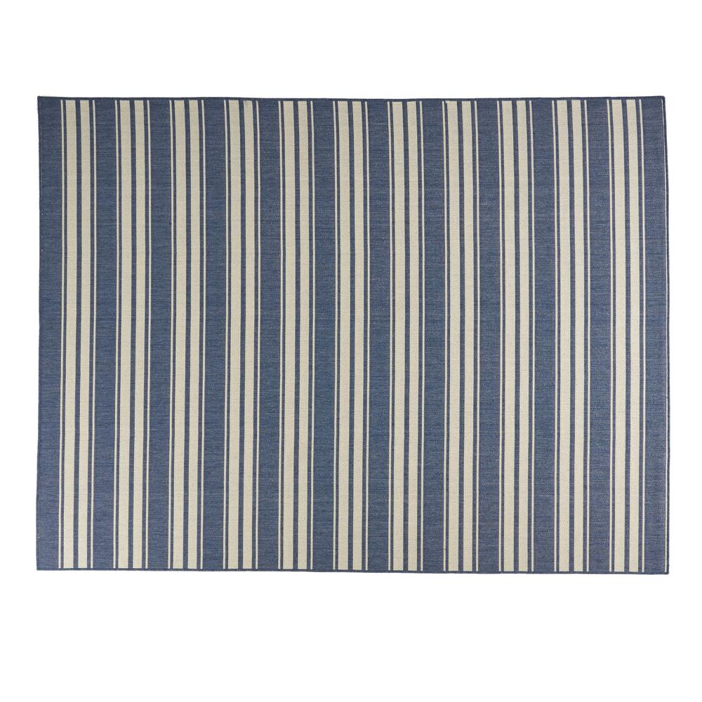 Noble House Ifran Blue Ivory 7 Ft X 10 Ft Striped Indoor Outdoor Area Rug 81859 The Home Depot