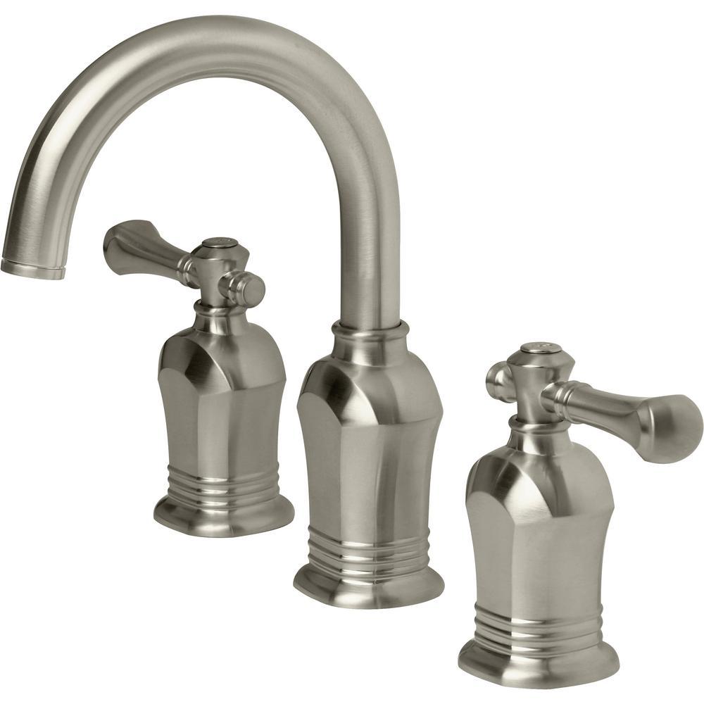 Verdanza 8 in. Widespread 2-Handle High-Arc Bathroom Faucet in Brushed Nickel