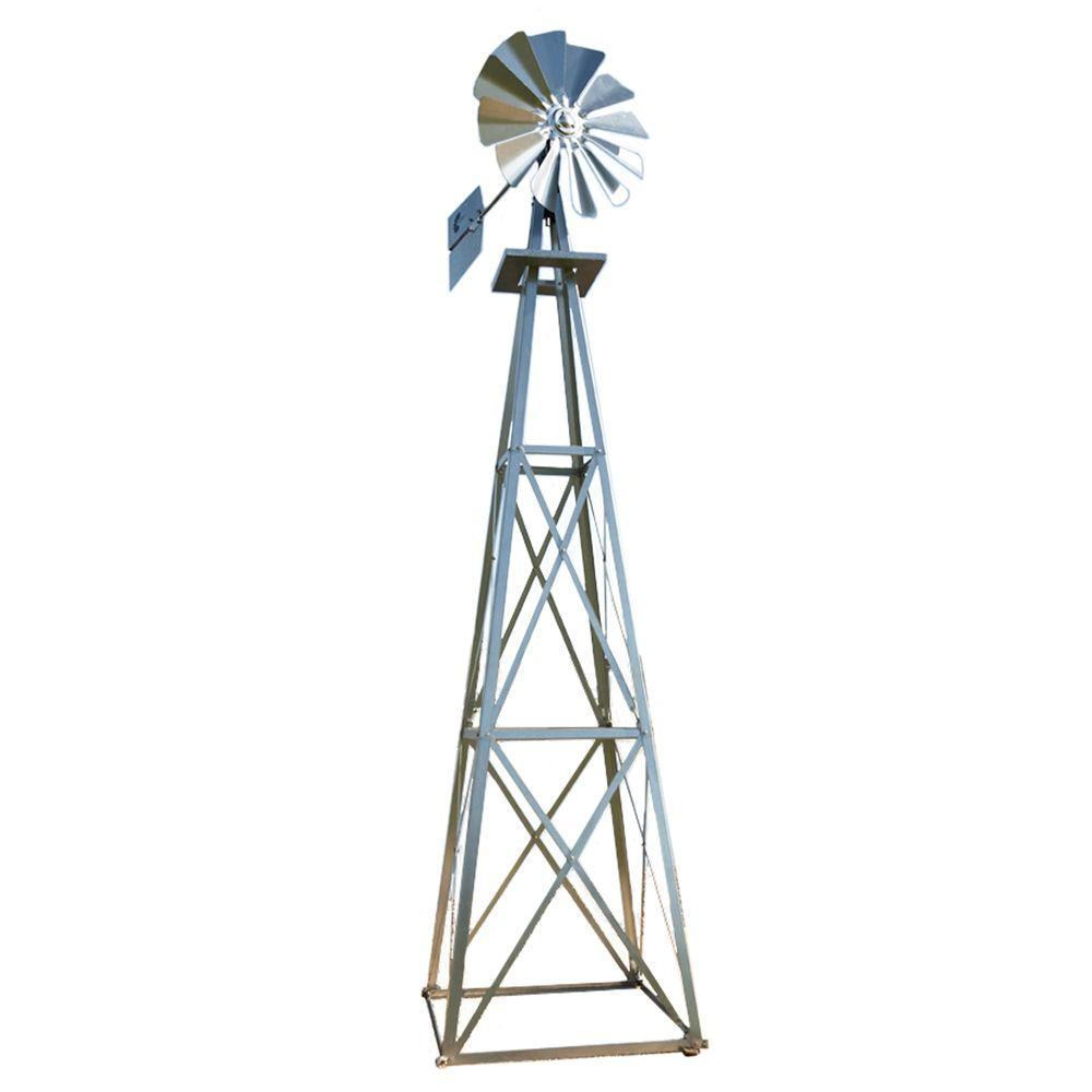 Large galvanized backyard windmill byw0003 the home depot for Outdoor decorative items