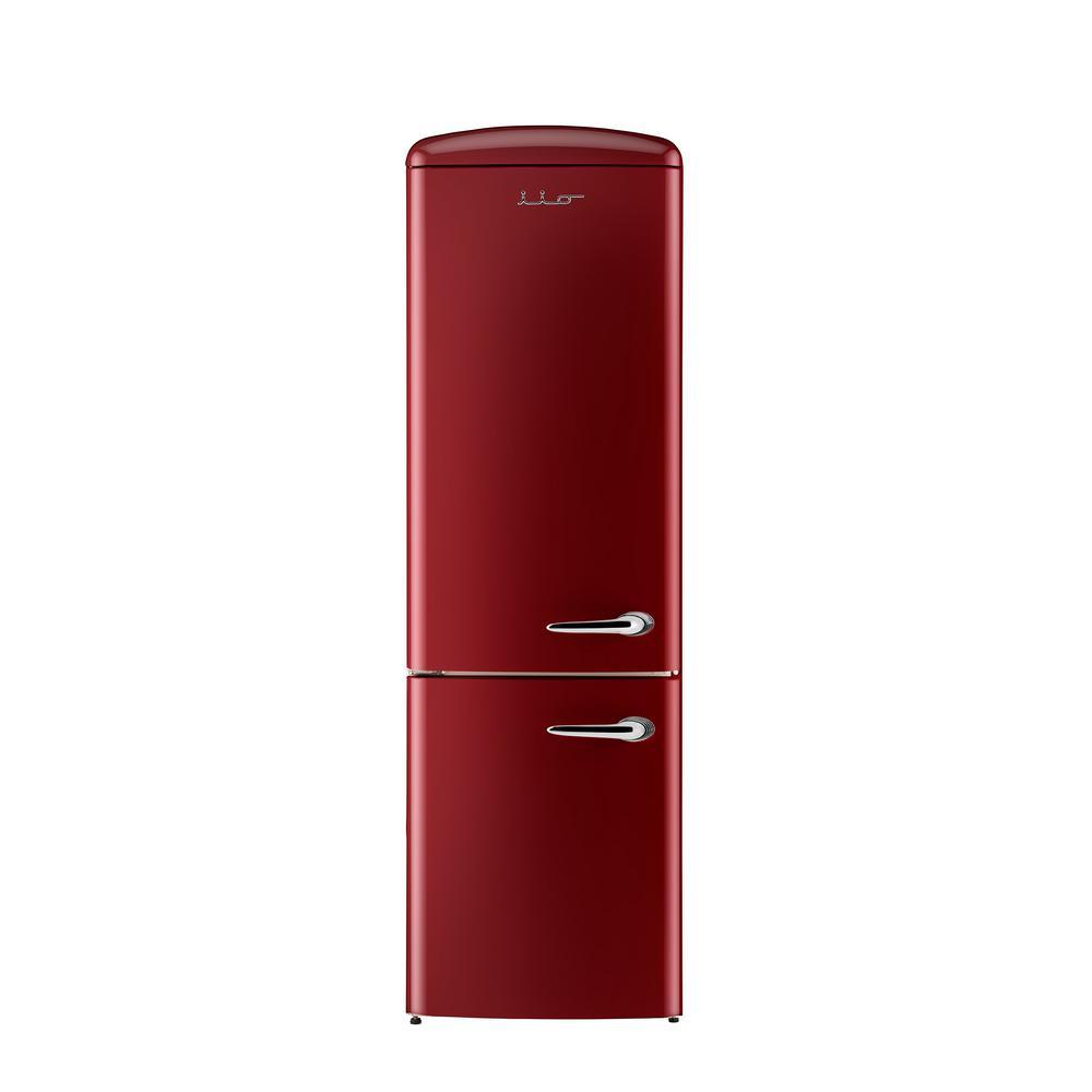 24 in. 12 cu. ft. Left Hinge Retro Bottom Freezer Refrigerator in Bordeaux